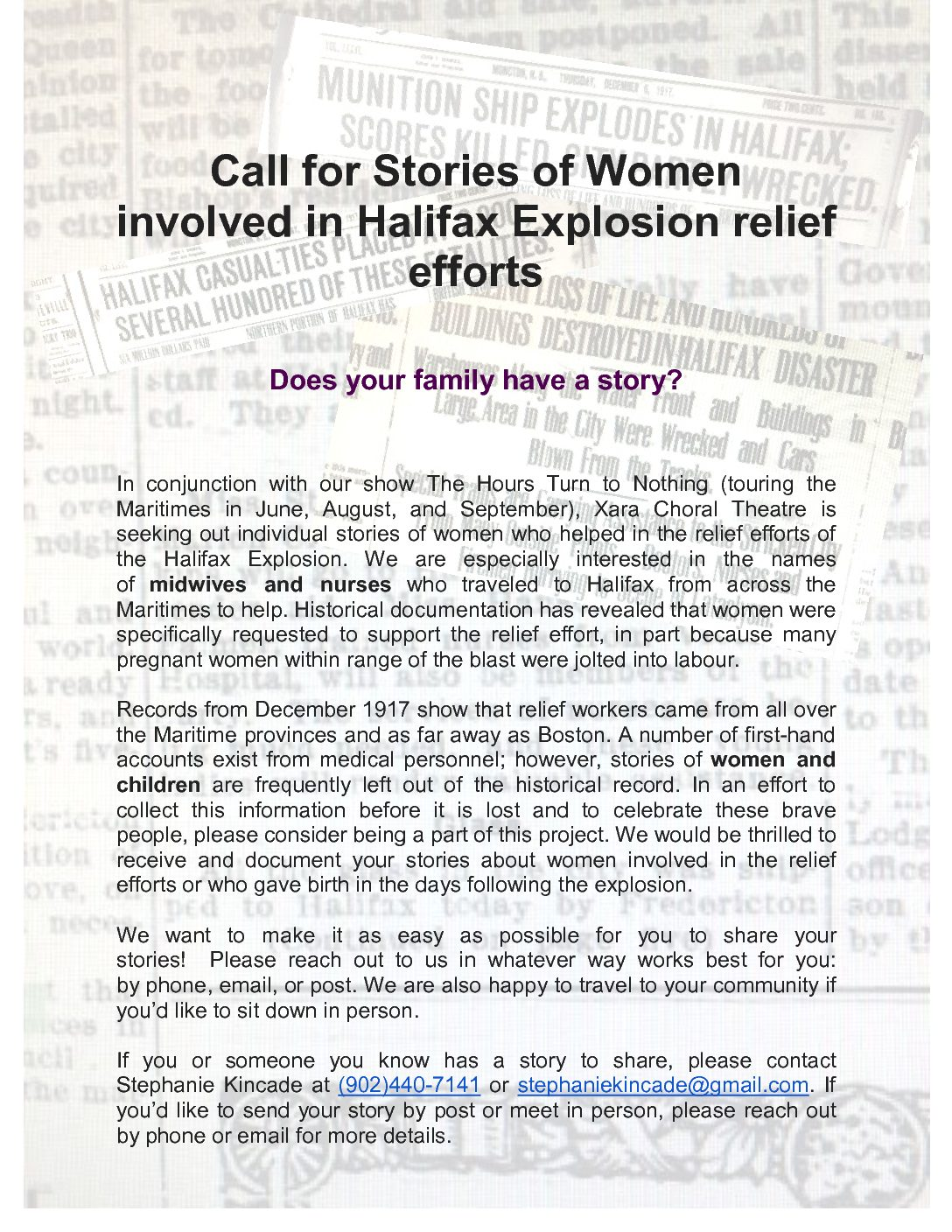 Call for Stories of Women involved in Halifax Explosion relief